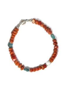 Sponge Coral, Turquoise & Mother of Pearl Bead Bracelet by Julian Coriz (BR6233)