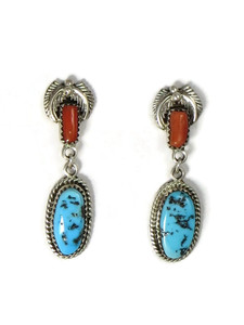 Turquoise & Coral Dangle Earrings (ER5251)