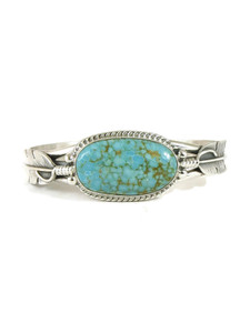 Manassa Turquoise Silver Feather Bracelet by John Nelson (BR6241)