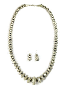 """Graduated Silver Bead Necklace Set 26"""" (NK4589)"""