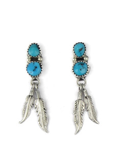 Turquoise Silver Feather Earrings (ER5256)