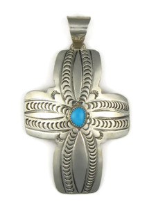 Large Turquoise Cross Pendant by Carson Blackgoat (PD4205)