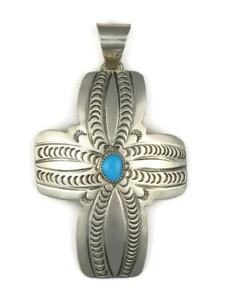Large Turquoise Cross Pendant by Carson Blackgoat (PD4205)