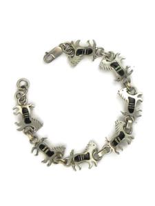Onyx & Opal Inlay Horse Link Bracelet (BR6244)