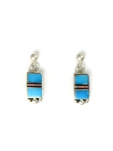 Turquoise, Jet & Opal Inlay Earrings (ER5276)