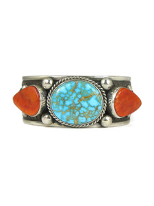 Kingman Turquoise & Spiny Oyster Shell Cuff Bracelet by Guy Hoskie (BR6246)