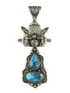 Kingman Turquoise Butterfly Dancer Pendant by Freddy Charley (PD4206)