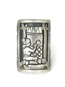 Silver Navajo Weaver Story Ring Size 8 by Freddy Charley (RG4514)