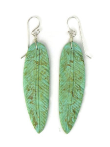 Long Turquoise Feather Slab Earrings by Ronald Chavez (ER5281)