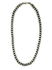 """Antiqued 7mm Sterling Silver Beads 30"""""""