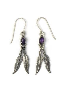 Silver Amethyst Feather Earrings (ER5345)