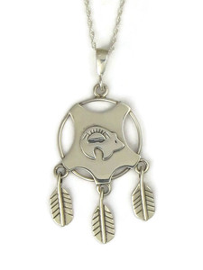 Silver Bear Shield Feather Pendant (PD4212)