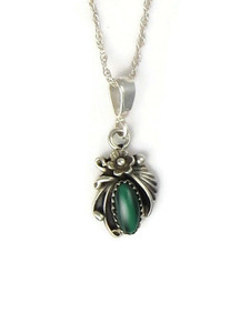 Small Silver Malachite Pendant (PD4214)
