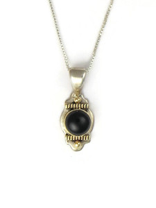 14k Gold Sterling Silver Onyx Pendant (PD4216)