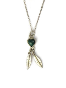 Small Malachite Heart Feather Pendant (PD4217)