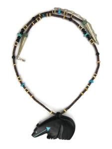 Jet Bear Fetish Necklace by Georgia Quandelacy (NK4586)