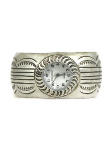 Silver Watch Cuff Bracelet by Carson Blackgoat (WTH763)