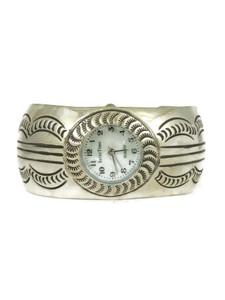 Silver Watch Cuff Bracelet by Carson Blackgoat (WTH764)
