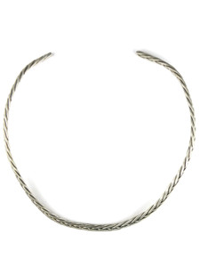 Silver Braid Choker Necklace (NK4587)