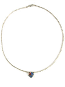 Denim Lapis & Gemstone Inlay Omega Necklace (NK4594)