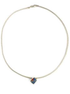 Denim Lapis & Gemstone Inlay Omega Necklace (NK4594)