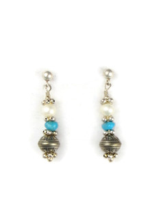 Turquoise, Pearl & Silver Bead Earrings (ER5348)