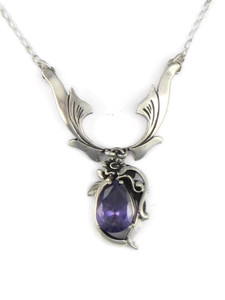 Silver Amethyst Necklace by Les Baker Jewelry (NK4363)