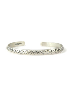 Hand Stamped Silver Bracelet by Elaine Tahe (BR6252)