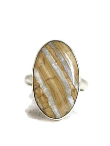 Fossilized Mammoth Tooth Ivory Ring Size 7 by Lyle Piaso (RG4519)