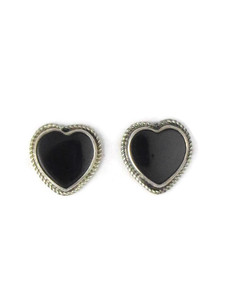 Silver Onyx Heart Earrings (ER5355)