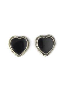 Silver Onyx Heart Earrings (ER5355)