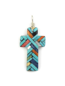 Mosaic Inlay Cross Pendant by Julian Coriz (PD4219)