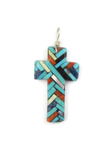 Mosaic Inlay Cross Pendant by Julian Coriz (PD4220)