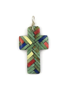 Mosaic Inlay Cross Pendant by Julian Coriz (PD4221)