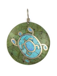 Mosaic Inlay Turquoise Turtle Pendant by Raymond Coriz (PD4222)