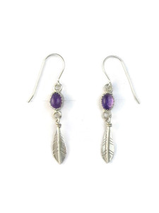 Amethyst Silver Feather Earrings by Barbara Hemstreet (ER5362)