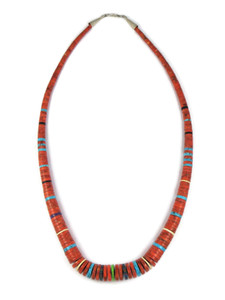 "Sponge Coral Gemstone Heishi Necklace 27"" by Ronald Chavez (NK4685)"