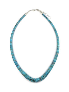 Turquoise Heishi Necklace with Extension Chain by Ronald Chavez (NK4687)