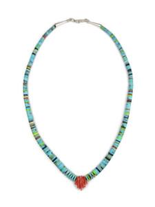 "Turquoise & Gemstone Heishi Necklace 17"" by Ronald Chavez (NK4688)"