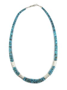 "Turquoise Heishi Silver Bead Necklace 23"" by Ronald Chavez (NK4689)"