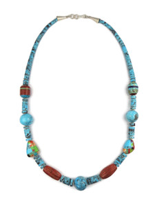 "Turquoise Heishi Inlay Bead Necklace 23 1/2"" by Ronald Chavez (NIK4690)"