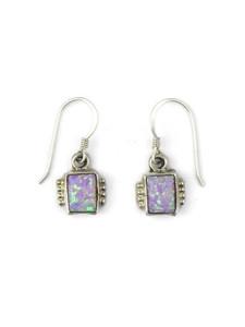 Silver Pink Opal Dangle Earrings (ER5379)