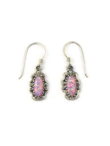 Silver Pink Opal Dangle Earrings (ER5382)