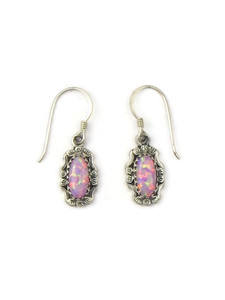 Silver Pink Opal Dangle Earrings (ER5382)