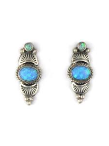 Silver Blue Opal Post Earrings (ER5384)
