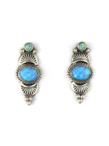 Silver Blue Opal Post Earrings (ER5384)