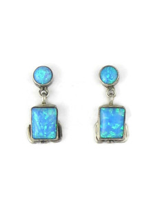 Silver Blue Opal Post Dangle Earrings (ER5385)