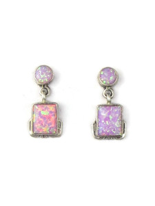 Silver Pink Opal Post Dangle Earrings (ER5386)