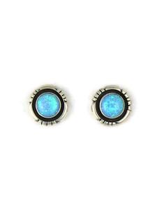 Silver Blue Opal Post Earrings (ER5388)