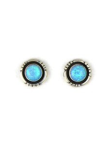 Silver Blue Opal Post Earrings (ER5388)